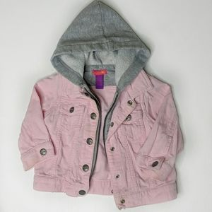 Girls Greendog Pink Corduroy Jacket Faux Hoodie
